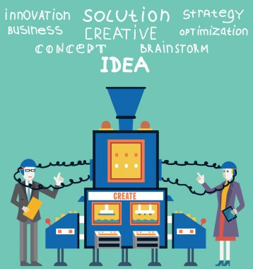 Brainstorm of businessman and businesswoman. Create ideas and creative solutions