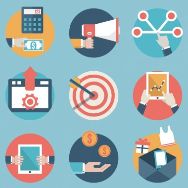 Flat set of modern vector icons and symbols on business management or analytics and e-commerce theme - part 2