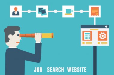 Vector flat concept of job search website