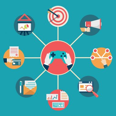 Vector flat concept of gamification in business. Integration of management and commerce