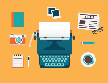Vector flat illustration of workplace of typewriter with documents and equipment for blog. Old journalism theme