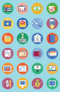 Vector flat set of business and analytics icons, commerce and development