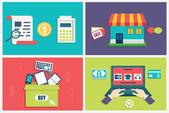 Vektorové plochý koncept proces online nakupování. Infographic symboly pro e-commerce. plochý design