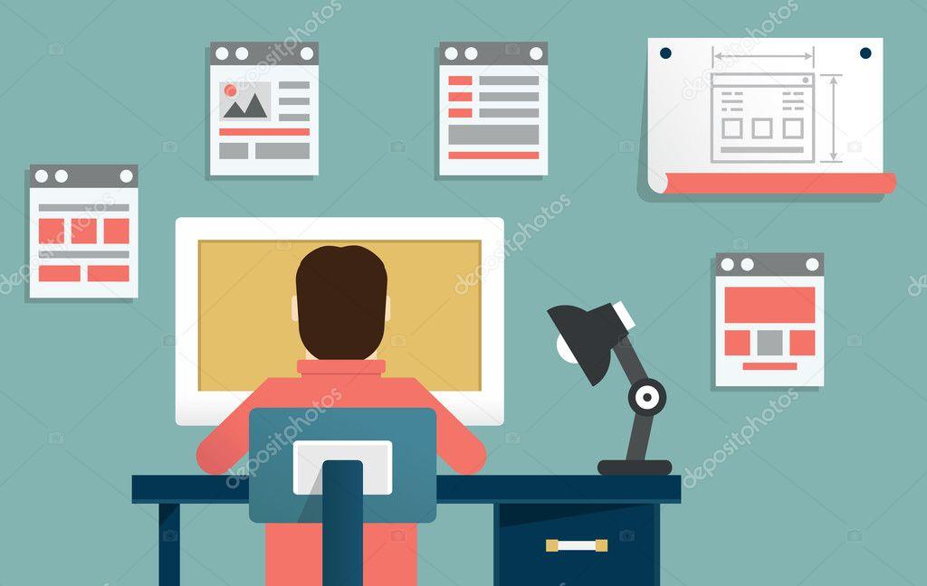 Vector flat illustration of application or website development. Design and programming
