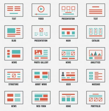 Vector set of sitemaps symbols for webpage. Web design and interface
