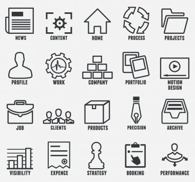 Set of outline seo and internet service icons for design - part 1