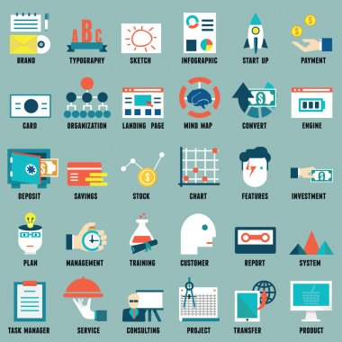 Set of flat business, commerce, internet service icons for design - part 3