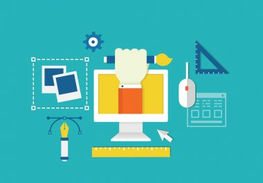 Vector concept of web design and devices for work. Equipment for creation