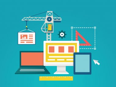 Vector flat illustration of process coding and programming mobile applications for devices. Design and programming