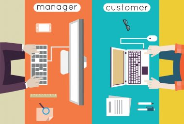 Vector illustration of customer relationship management. Business and development