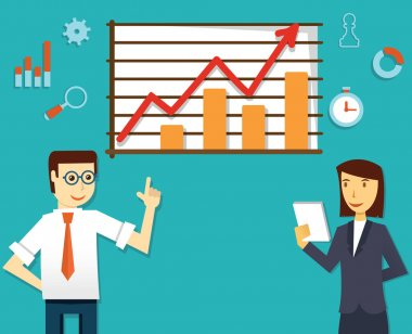 Vector illustration of ecommerce market of web analytics. Businesspeople and development