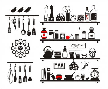 Vector black food and drinks icons set