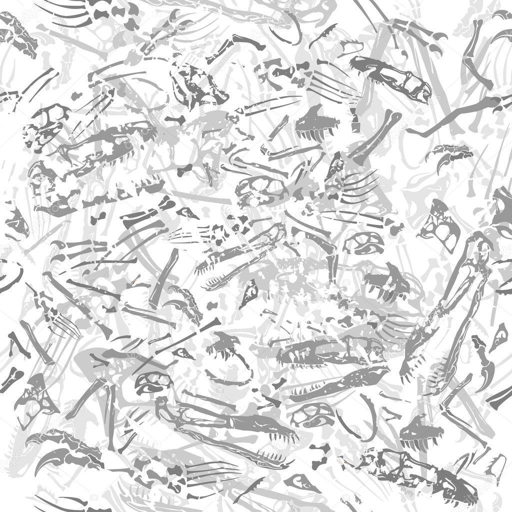 Seamless grungy dinosaur bones pattern