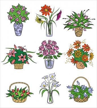 Flower bouqets in vases. Vector illustration