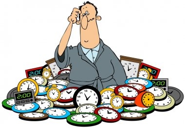 Man in a pile of clocks