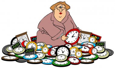 Woman setting clocks