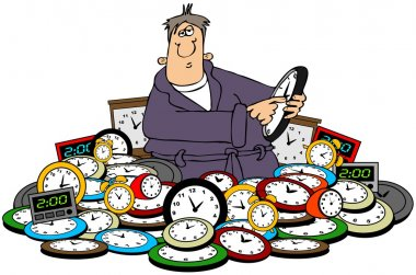 Man setting time on clocks