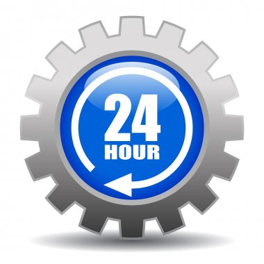 24 hour service gear icon