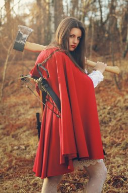 Dangerous Little red riding hood with axe