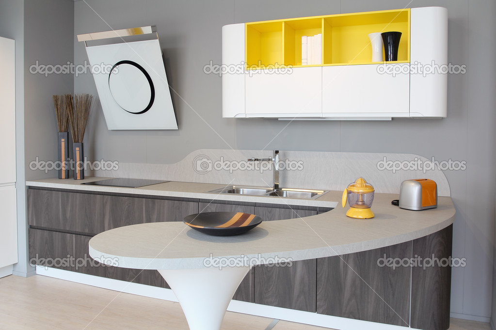 Moderne Keukens Wit : Moderne keuken wit en geel u stockfoto captblack