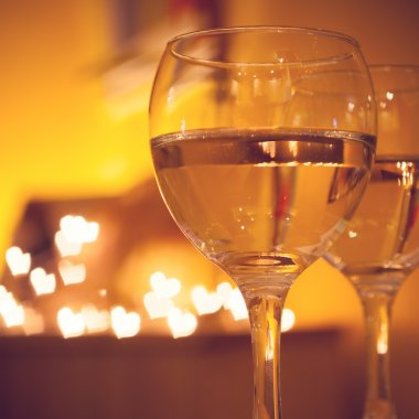 Celebration.Glasses of wine. The concept of Valentine's Day.