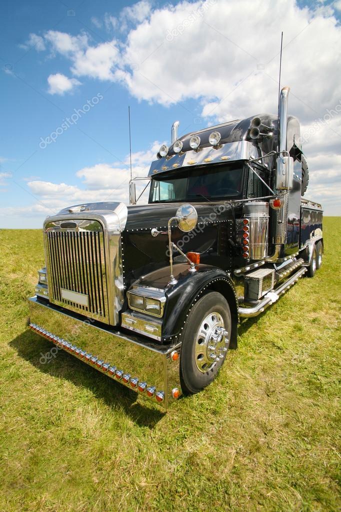 American truck in field