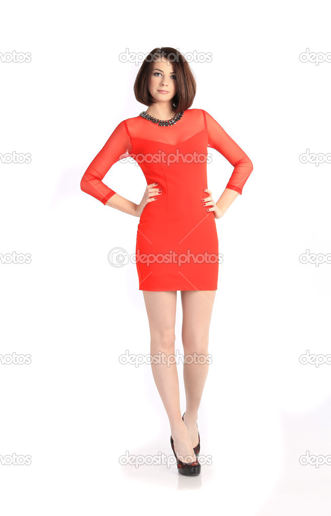 40eda5b4a1df dívka v krátké červené šaty na bílém pozadí — Stock Fotografie ...