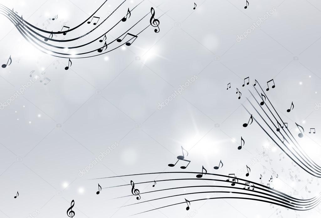 Musica Di Sottofondo Di Note In Bianco E Nero Foto Stock