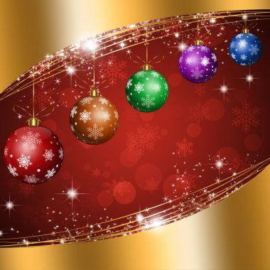 Christmas Balls Gold Background