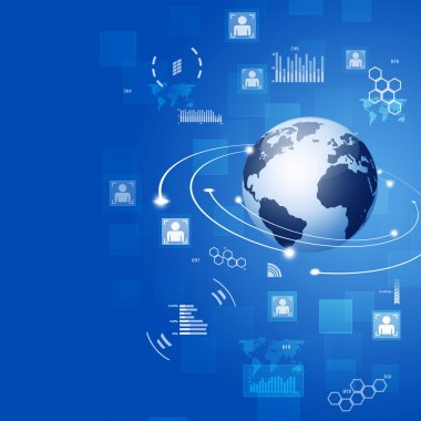 Global Connections Blue Business Background