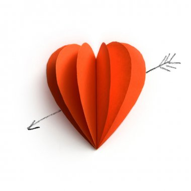paper book heart with amour arrow