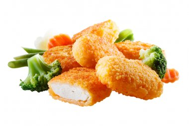 Nuggets with vegetables. File contains clipping path
