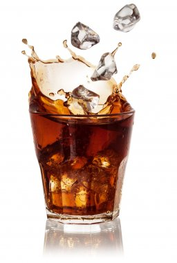 Cola glass with falling ice cubes over white. With clipping path