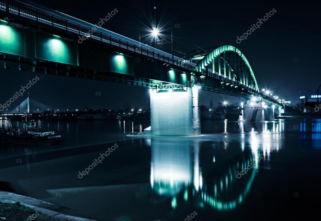 Βελιγράδι τρένο γέφυρα — Φωτογραφία Αρχείου