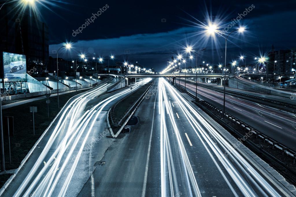 Εθνική οδό τη νύχτα — Φωτογραφία Αρχείου