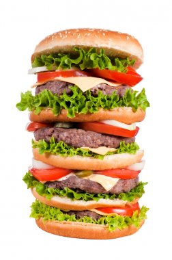 Big cheeseburger isolated on white stock vector