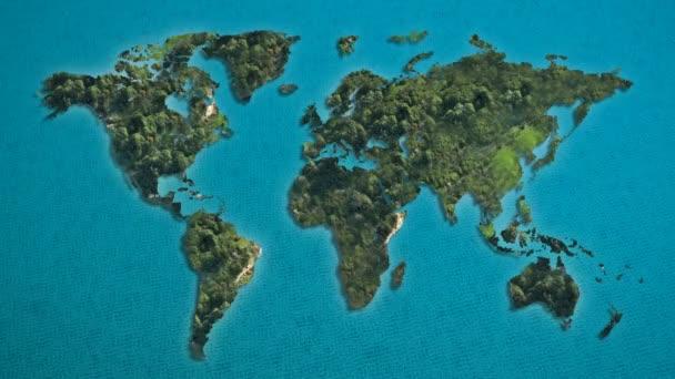 Térkép és a zöld a világ óceán