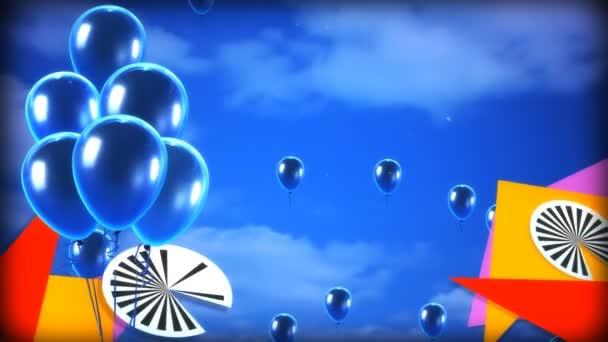 Kék léggömb ég és grafikus banner
