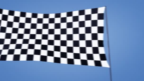 Checkered flag moving with blue sky background