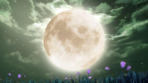 velký měsíc a květiny