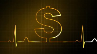 The dollar sign graphic of EKG monitor for finance theme stock vector