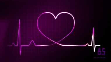 heartbeat magenta of EKG monitor