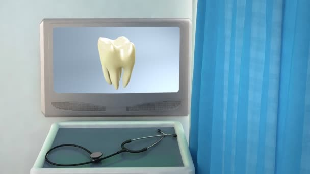 Yellow tooth to white tooth medical screen closeup