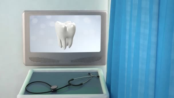 Health tooth flare medical screen closeup