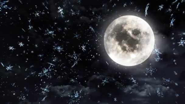 měsíc sněhu a pozadí erupce na vánoční téma