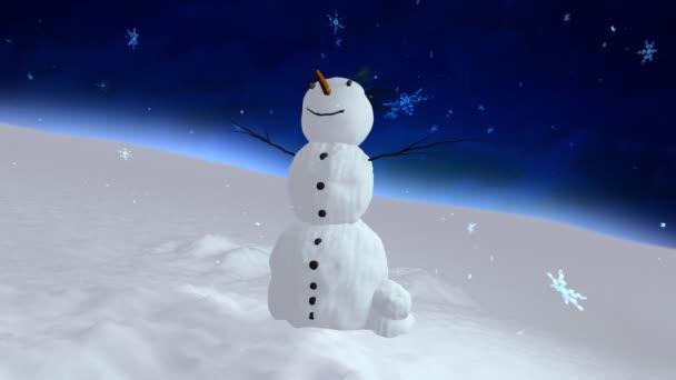 sněhulák modrá obloha centrum