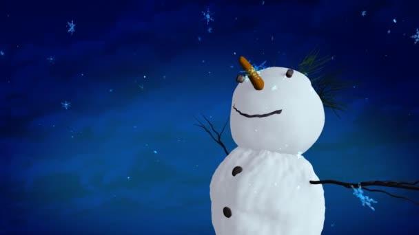 sněhulák modrá obloha closeup