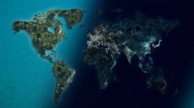 Day and night World map of the ocean — Stock Video © realcg #45749019