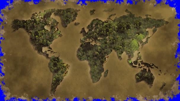 Vintage világ megjelenítése éget kék képernyő
