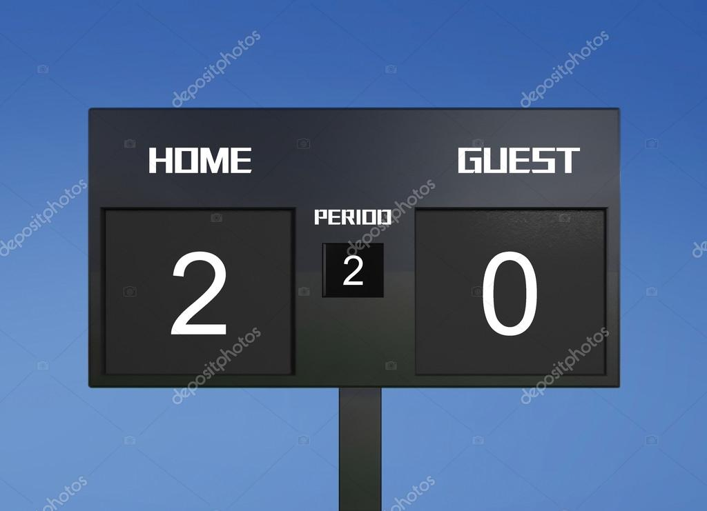 soccer scoreboard score 2 0 stock photo realcg 48120351
